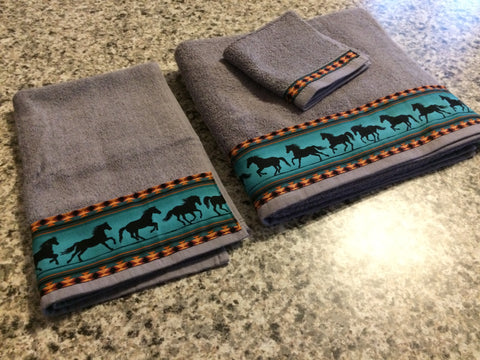Bathroom Towels - Charcoal Grey with Teal Horses (set)