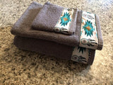 Bathroom Towels - Charcoal Grey with Teal Dreamcatchers (set)