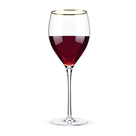 crystal wine glass gold rim