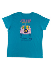 Women's Short Sleeve t-shirt Yellow Dog Collection: Jeep Hair: Caribbean Blue