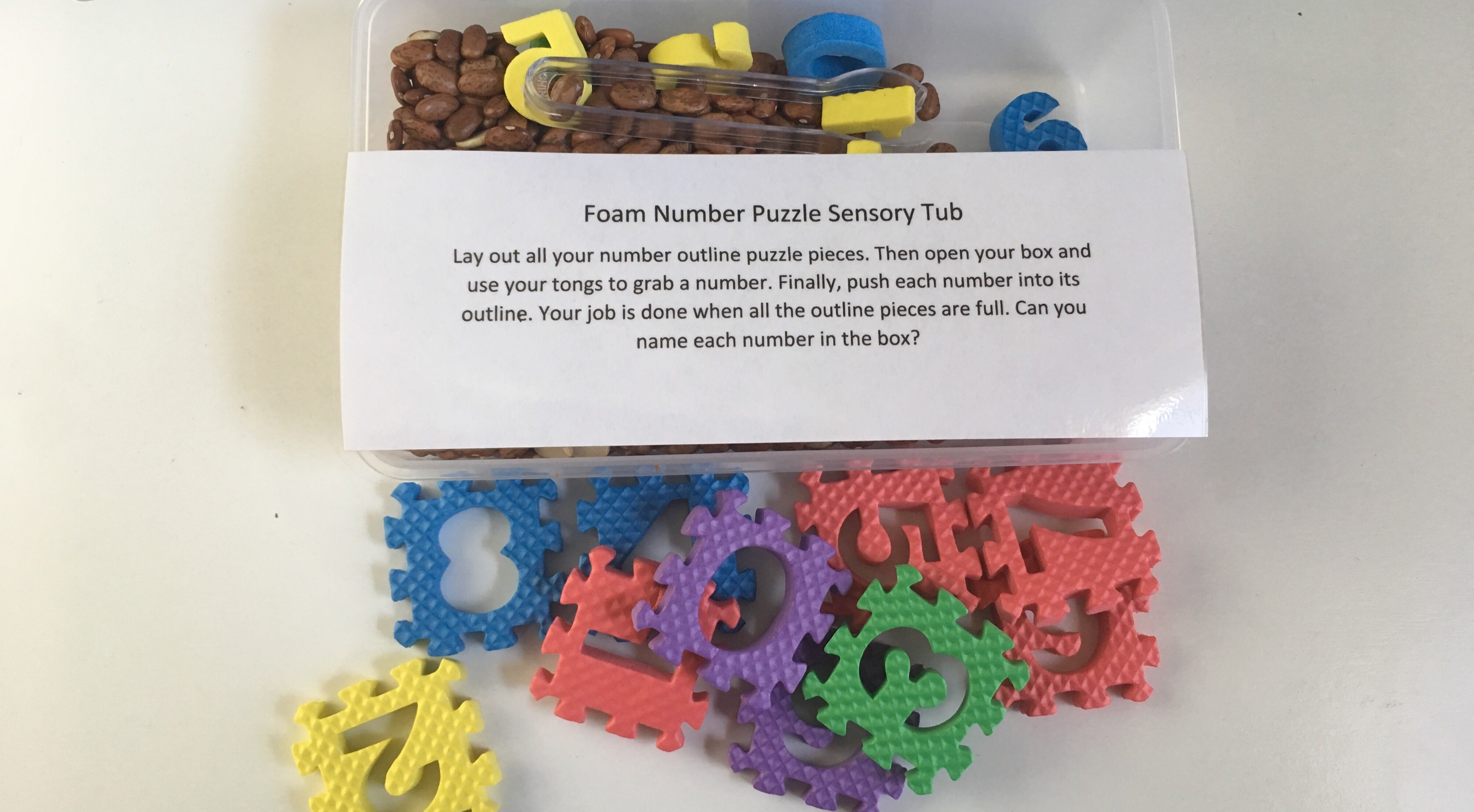 Foam Number Puzzle Sensory Tub