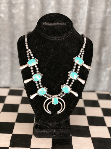 Kingman Turquoise Squash Blossom Set (T. Skeets Signed Piece - New Mexico Artist)