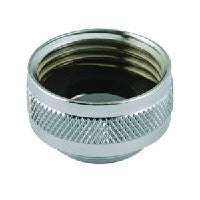 "Neoperl 15 3450 5 Faucet Adapter, Solid Brass, Chrome Finish, Female 3/4"" Hose Top Threads, Male 55/64""-27 Bottom Threads"