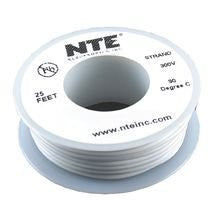 NTE ELECTRONICS WH26-09-25 HOOK-UP WIRE, 25FT, 26AWG, CU, WHITE