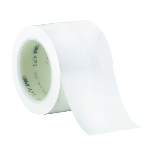 "3M T968471W White #471 Solid Vinyl Tape, 3"" x 36 yd. (Pack of 12)"