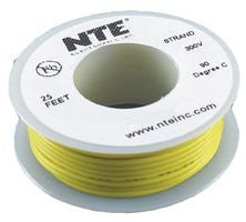 NTE ELECTRONICS WH26-04-25 HOOK-UP WIRE, 25FT, 26AWG, CU, YELLOW