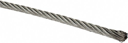 "Liftall 1877.0 Cable, Galvanized, 7 x 7 Strands, 1/8"" Diameter, 12.0"" Length, 1700 lb. Nominal Breaking Strength"