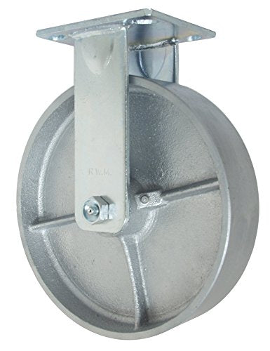 "RWM Casters 46 Series Plate Caster, Rigid, Cast Iron Wheel, Roller Bearing, 1200 lbs Capacity, 8"" Wheel Dia, 2"" Wheel Width, 9-1/2"" Mount Height, 4-1/2"" Plate Length, 4"" Plate Width"