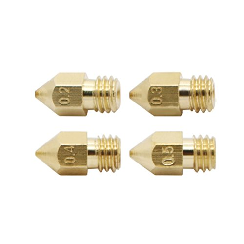 UEETEK 4pcs 3D Printer 0.2mm+0.3mm+0.4mm+ 0.5mm Extruder Brass Nozzle Print Head