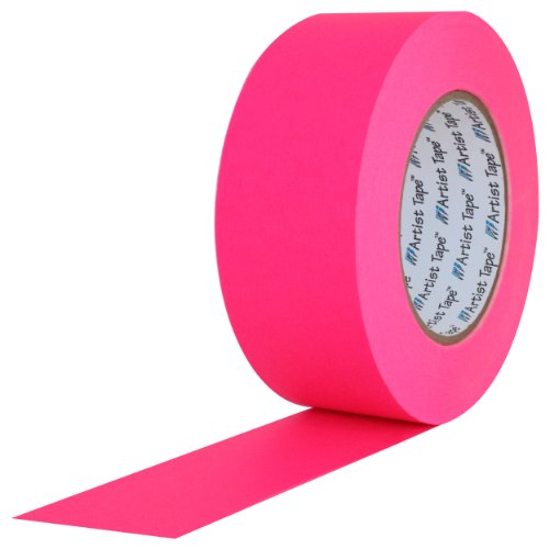 "ProTapes Artist Tape Flatback Printable Paper Board or Console Tape, 60 yds Length x 1"" Width, Fluorescent Pink (Pack of 1)"