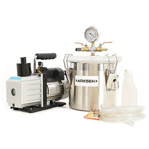 ARKSEN 2 Vacuum Chamber with 5CFM Vacuum 1/2HP Vacuum Pump Silicone Expoxy Degassing (Combo Kit)