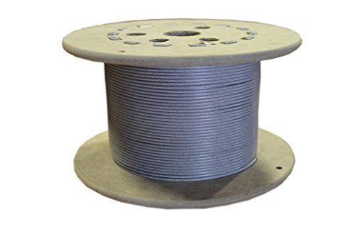 "Loos Galvanized Steel Wire Rope, Nylon Coated, Military Specification, 7x7 Strand Core, 1/16"" Bare OD, 3/32"" Coated OD, 25' Length, 480 lbs Breaking Strength"