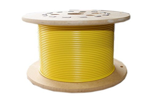 "Loos Galvanized Steel Wire Rope, Vinyl Coated, 7x7 Strand Core, Yellow, 1/16"" Bare OD, 3/32"" Coated OD, 25' Length, 480 lbs Breaking Strength"