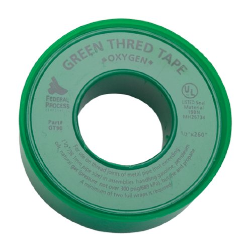 "Gasoila GT90-24 Green PTFE High Density Thread Tape Roll, -450 to 550 Degree F Performance Temperature, 3.7 mil Thick, 260"" Length, 1/2"" Width, For Oxygen"