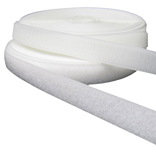 Tinksky 25M Durable White Hook Loop Tape/Roll Sew On one Sides Included Not Adhesive Adjustable