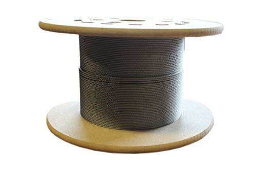 "Loos Stainless Steel 302/304 Wire Rope, Military Specification, Lubricated, 7x7 Strand Core, 3/64"" Bare OD, 25' Length, 270 lbs Breaking Strength"