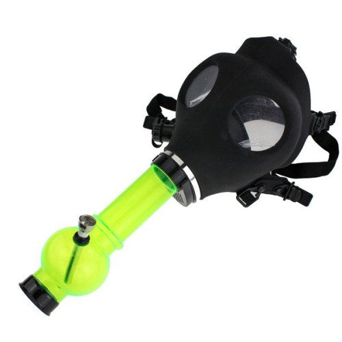 BLACK RUBBER GAS MASK WITH ACRYLIC TUBE - GREEN