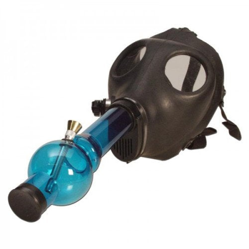 BLACK RUBBER GAS MASK WITH ACRYLIC TUBE - BLUE