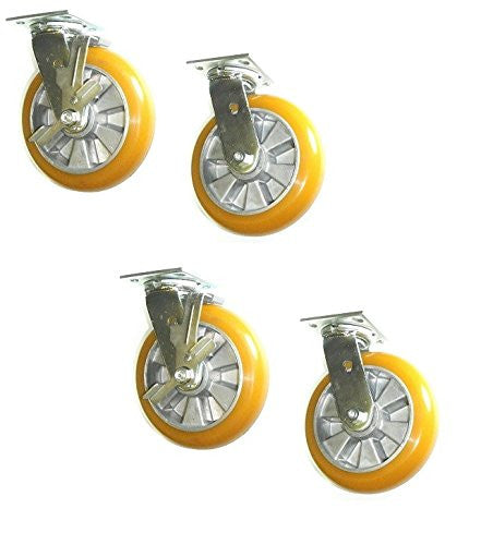"Set of 4 Heavy Duty Casters with Crown Tread Polyurethane on Aluminum 6"" x 2"" Wheel"