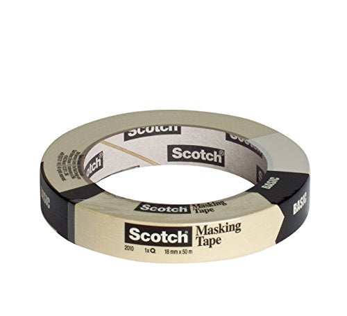 Scotch 20101850 Basic Masking Tape Simple Painter's Tape for General Masking Work 1 Day Cleanly Removable 18 mm x 50 m
