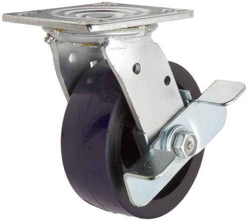 "RWM Casters 46 Series Plate Caster, Swivel with Brake, Urethane on Iron Wheel, Roller Bearing, 1050 lbs Capacity, 5"" Wheel Dia, 2"" Wheel Width, 6-1/2"" Mount Height, 4-1/2"" Plate Length, 4"" Plate Width"