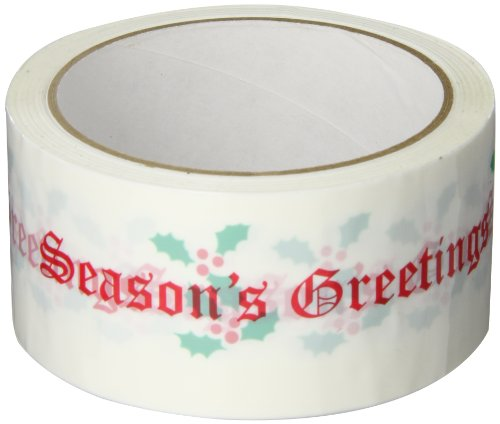 "3M 371 Printed White Carton Sealing Tape with Red Lettering - ""Seasons Greetings"" - 2"" x 55yds (1 Roll)"