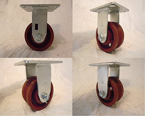 "4"" X 2"" Rigid Caster 7/8"" V-groove Ductile Steel Wheel 1500 Lbs Each (4)"