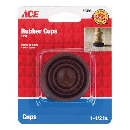 "1-3/4"" Round Caster Cup, Rubber, Brown, 4/PK - No. 52496"