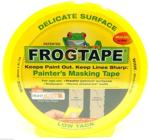 Frog Tape Painter's Masking Tape Yellow Bleed Proof Tape Low Tack Painters Tape (Gloss & Stain Painter's Tape 36mm x 41.1m)