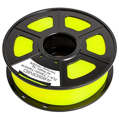 Absonic PLA 3D Printer Filament 1.75mm Diameter, Dimensional Accuracy +/-0.02 mm, 1Kg (2.2 lbs) Spool, Yellow