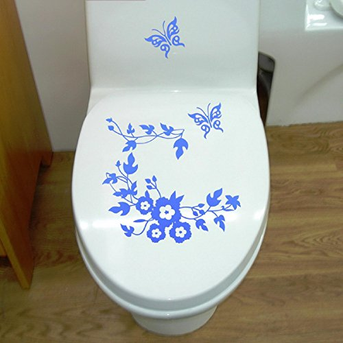 Butterfly Flower bathroom closestool stickers home deocr home decoration decals for toilet decal sticker decor by JTHL