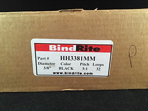 "Partial Box of 65 Bind Rite Black 3/8"" - 3:1, 32 Loop Wire Binding Rings"