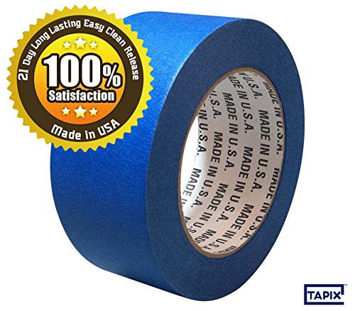 "4 INCH BLUE PAINTERS MASKING TAPE - 21 DAY LONG LASTING EASY CLEAN RELEASE - 5.5 ML - 4"" x 60 YD - MADE IN USA - GREAT FOR A VARIETY OF SURFACES - 100% SATISFACTION AND MONEY BACK GUARANTEE by Tapix"