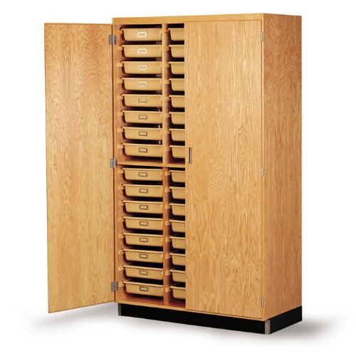 "Diversified Woodcrafts 350-4822 Oak Wood Tote Tray Storage Cabinet, 48"" Width x 84"" Height x 22"" Depth"