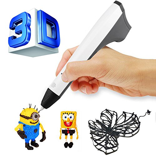 ACTOPP 2017 Updated Version White 3D Pen 3D Doodler Pen with 1.75mm PLA PCL Filament Support 3D Printing Pen One Button Operation No Burn No Toxic No Clog Gifts for Boys Girls