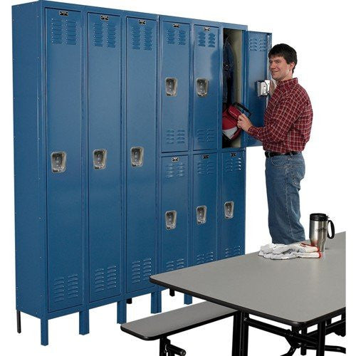 "HALLOWELL U3288-2HG Standard-Industrial Storage Cabinets, 5 Shelves, Putty, 46"" x 24"" x 72"""