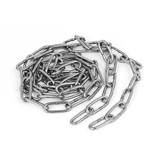 uxcell Pet Dog Training Clothes Hanging 304 Stainless Steel Coil Chain Silver Tone M3x5Ft