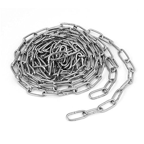 uxcell Pet Dog Training Clothes Hanging 304 Stainless Steel Coil Chain Silver Tone M2x8.2Ft