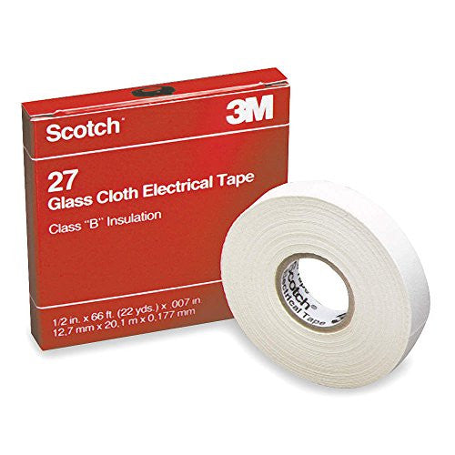 "White Glass Cloth Electrical Tape, 1/2"" Width, 66 ft. Length, 7 mil Thickness - 1 Each"