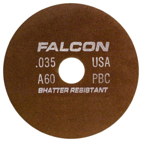"Falcon C60QBC Resinoid Bonded Shatter Resistant Tool Room Reinforced Abrasive Cut-off Wheel, Type 1, Silicon Carbide, 1-1/4"" Hub, 7"" Diameter x 0.035"" Thickness, 60 Grit  (Pack of 2)"