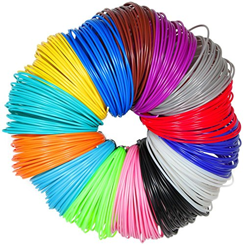 3D Filament ,3D Pen Material , PAMISO 1.75mm PLA (10m) Total 20 Random Different Colors Fun Pack Glow In The Dark
