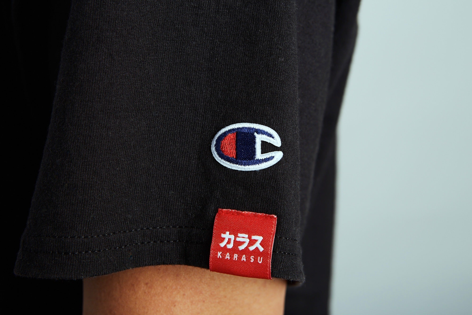 Karasu X Champion logos, collaboration tee