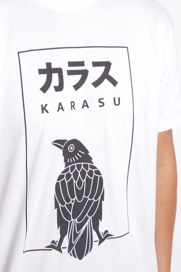 Karasu Clothing Co - White t-shirt, Box logo, model, detail shot