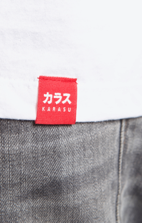 Karasu Clothing Co - White t-shirt, Karasu tag, model, detail shot