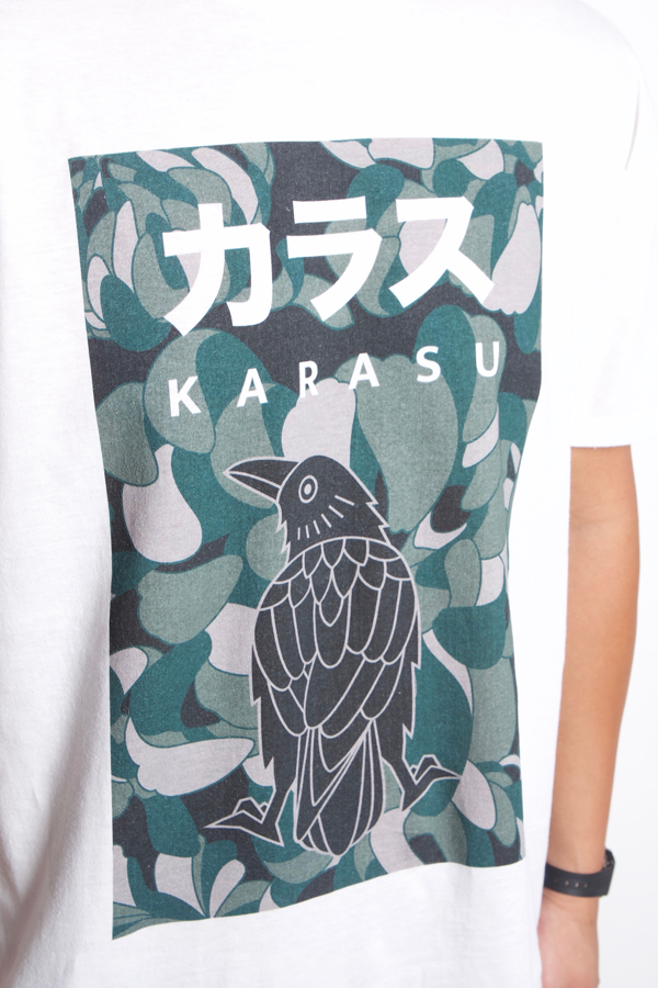 Karasu Clothing Co - White camouflage t-shirt, camo crow, model, detail shot