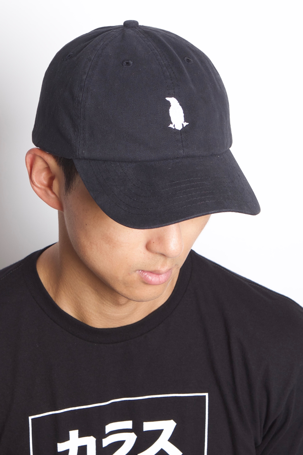 Karasu Clothing Co - Black dad hat/cap with embroidered crow, model wearing Box Tee BLK