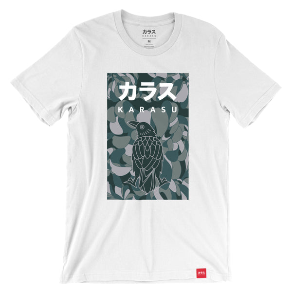 Karasu Clothing Co - White camouflage t-shirt, camo crow