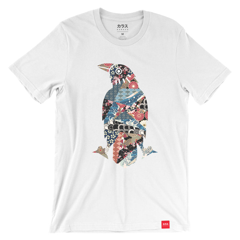 Karasu Clothing Co - White t-shirt, Japanese Pattern Crow design