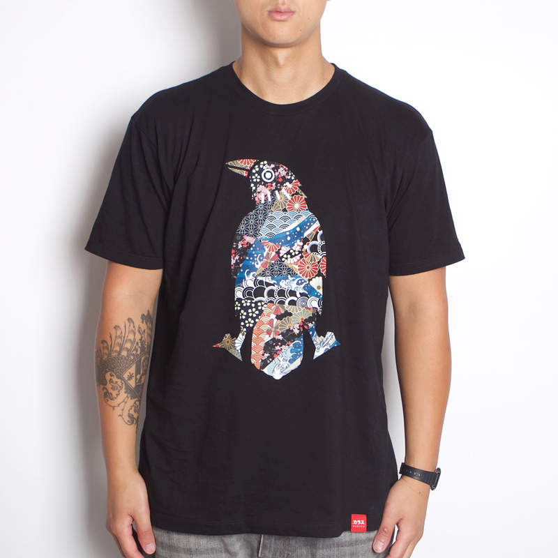 Karasu Clothing Co - Black t-shirt, Japanese Pattern Crow design, model