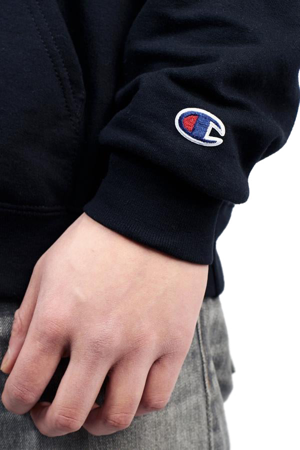 Karasu Clothing Co x Champion Collaboration - Black pullover hoodie, tackle twill embroidered, Champion logo detail shot on sleeve